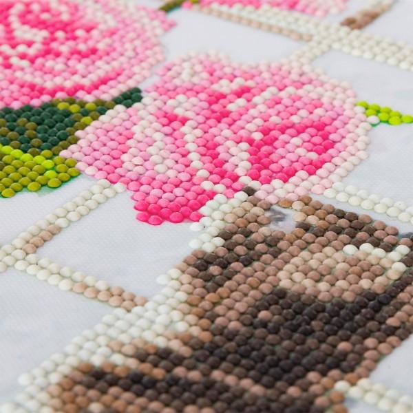 Kit Crystal Art - Tableau Chaton et fleurs - 30 x 30 cm - Photo n°2