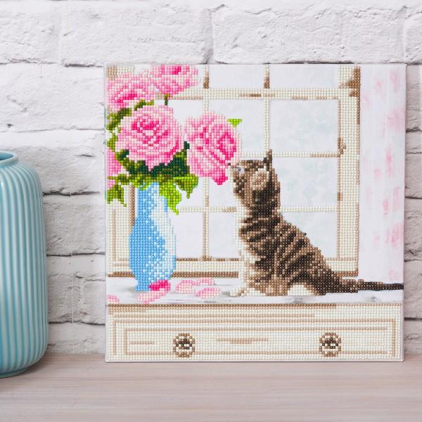 Kit Crystal Art - Tableau Chaton et fleurs - 30 x 30 cm - Photo n°3