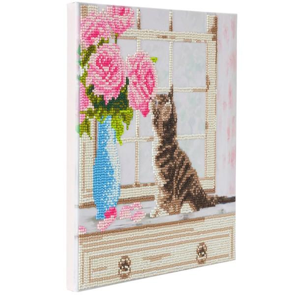 Kit Crystal Art - Tableau Chaton et fleurs - 30 x 30 cm - Photo n°4
