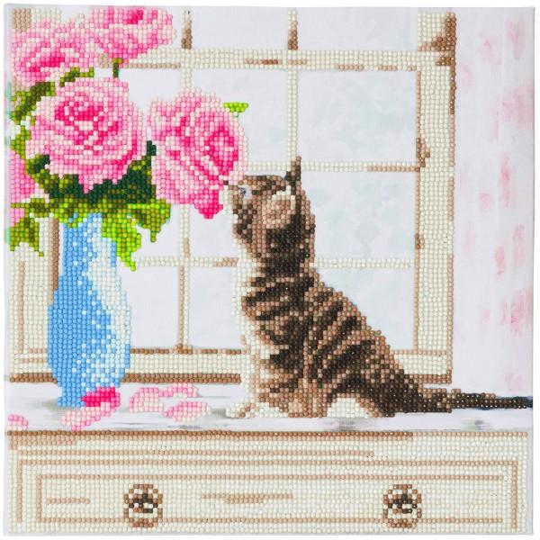Kit Crystal Art - Tableau Chaton et fleurs - 30 x 30 cm - Photo n°1