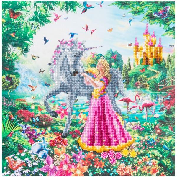 Kit Crystal Art - Tableau Princesse et Licorne - 30 x 30 cm - Photo n°1