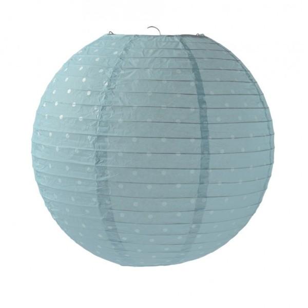 Lanterne Japonaise 35 cm en papier, Boule chinoise Bleu ciel à petits pois bleu clair - Photo n°1