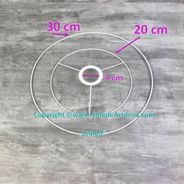 Set d'Ossature de Ø 20 à 30cm pour suspension conique, Tête ronde Ø 20cm, Anneau nu Ø 30cm, epoxy bl - Photo n°4