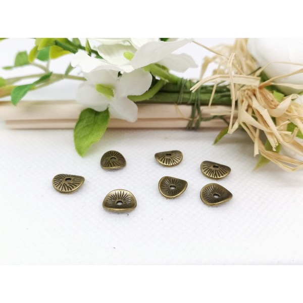 Perles intercalaires métal ondulé 9.5 mm bronze x 10 - Photo n°2