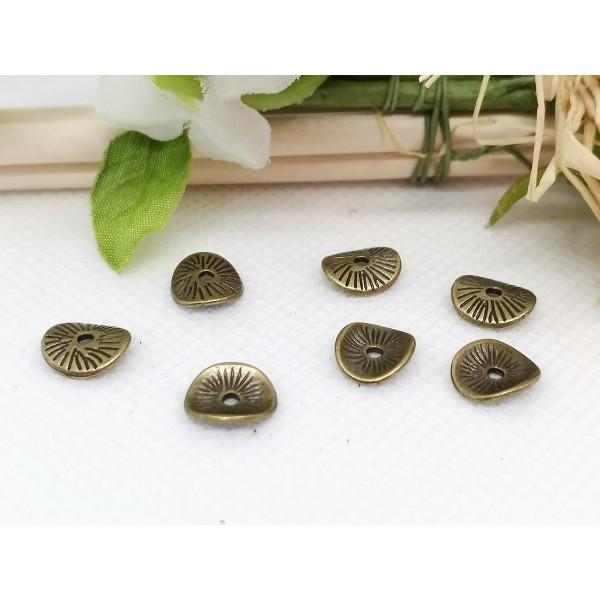 Perles intercalaires métal ondulé 9.5 mm bronze x 10 - Photo n°1