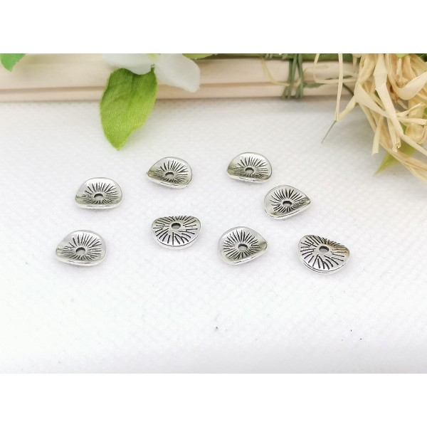 Perles intercalaires métal ondulé 9.5 mm argent mat x 10 - Photo n°2