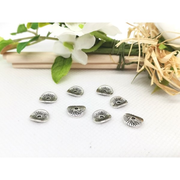 Perles intercalaires métal ondulé 9.5 mm argent mat x 10 - Photo n°1