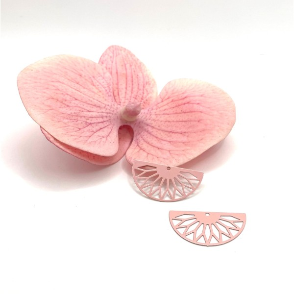 4 Pendentifs  Grands Demi Cercle Filigrane Feuille Métal Rose Style Art Déco, 30*16 mm - Photo n°1