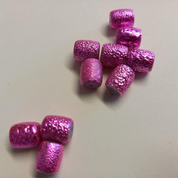 Dix perles rose brillant, 1 cm - Photo n°1