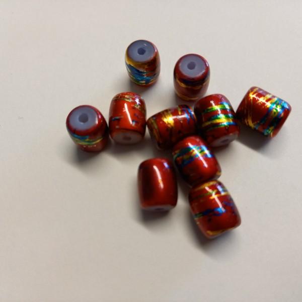 Dix perles rouge brillant, 1 cm - Photo n°1