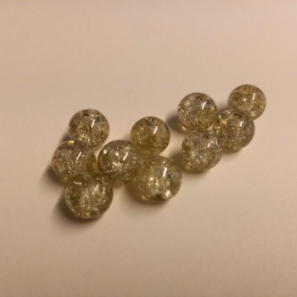 Dix perles blanc/jaune transparente , 1 cm - Photo n°1
