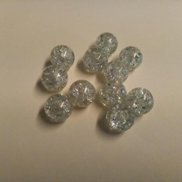 Dix perles blanche transparente 1 cm - Photo n°1