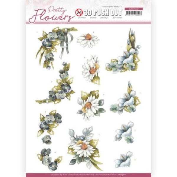 Carte 3D prédéc. - SB10500 - Pretty flowers - Fleurs bleues - Photo n°1