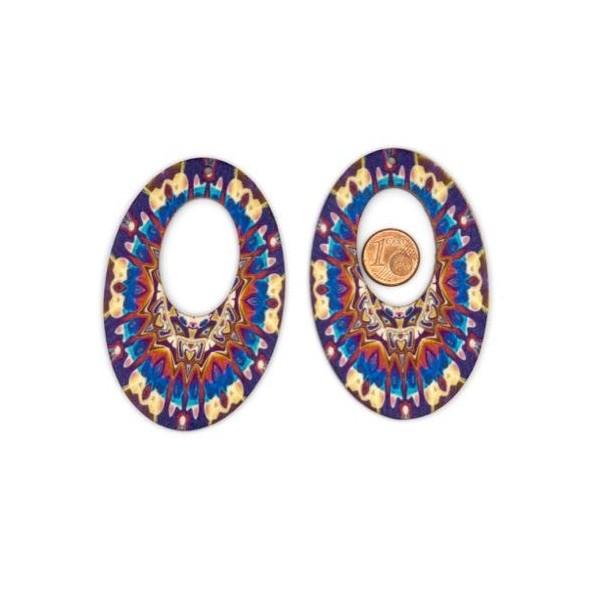 2 Pendentifs Ovale En Bois Style Ethnique Bleu Turquoise, Rouge, Beige, Ocre - Photo n°2