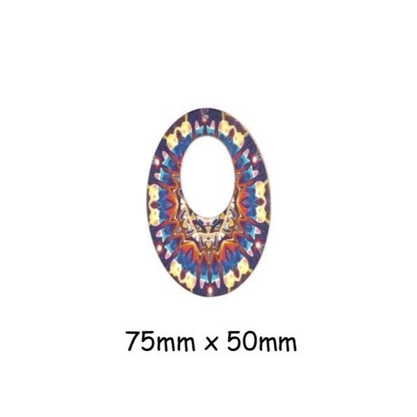 2 Pendentifs Ovale En Bois Style Ethnique Bleu Turquoise, Rouge, Beige, Ocre - Photo n°1