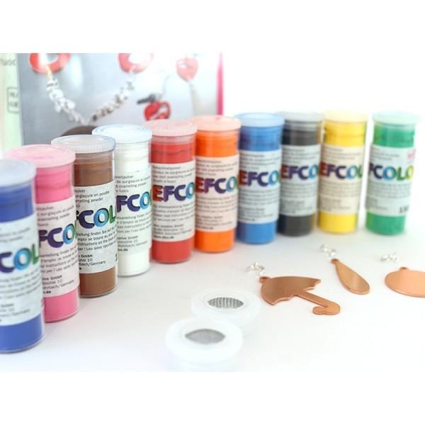 Set 10 couleurs Poudre Efcolor 10 ml, pour émaillage à froid, avec pendentifs et tamis, pour cuisson - Photo n°2