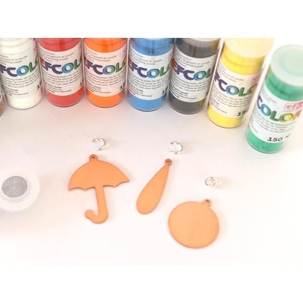 Set 10 couleurs Poudre Efcolor 10 ml, pour émaillage à froid, avec pendentifs et tamis, pour cuisson - Photo n°4