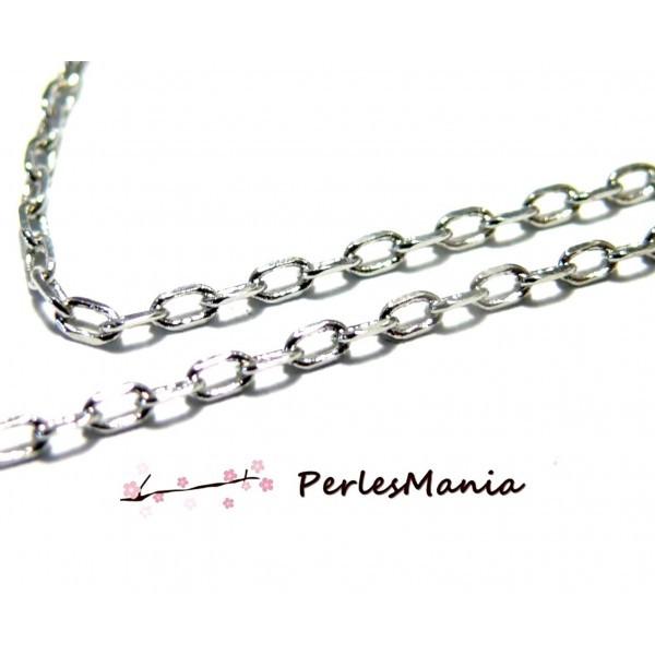 HCHC9YPP PAX 5 mètres Chaine maille Forcat 3 par 1.5mm cuivre couleur Argent Platine - Photo n°1
