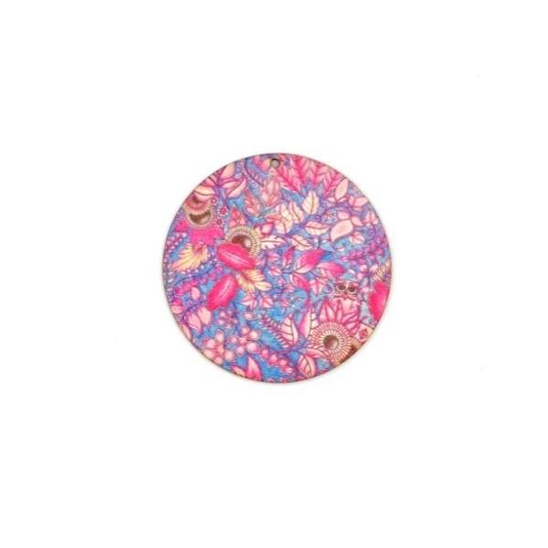 2 Pendentifs Rond En Bois Décoré Motif Plume, Feuille Rose Et Bleu Turquoise 60mm - Photo n°3