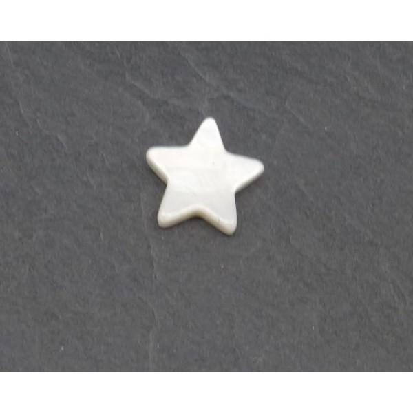 6 Perles Étoile En Nacre 12mm De Couleur Blanc Cassé Ivoire Nacré - Photo n°2
