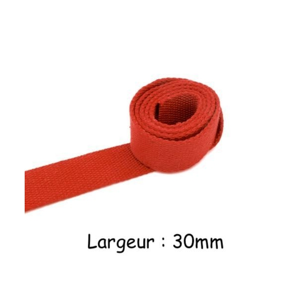 1m Sangle Coton Rouge Pour Sac, Banane, Sac À Dos 30mm - Photo n°1