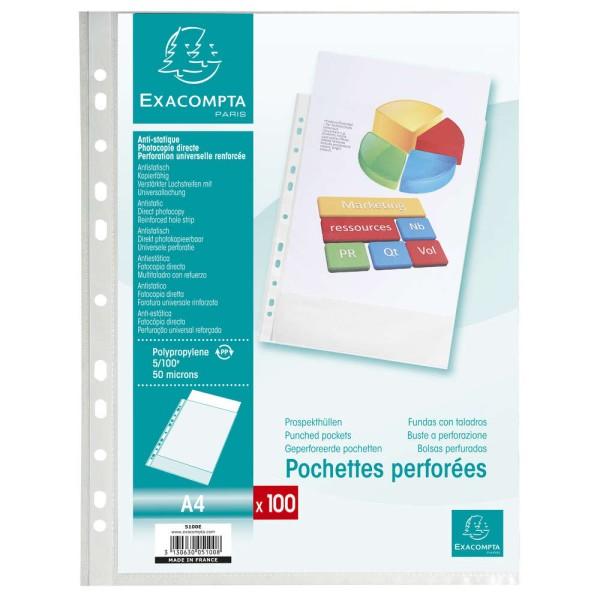 Pochettes perforées - A4 - Grainées - Par 100 - Photo n°1
