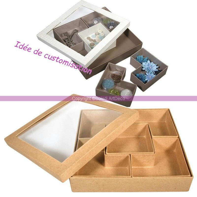 Coffret carr rangement en carton recycl avec 5 - Boite en carton recycle ...