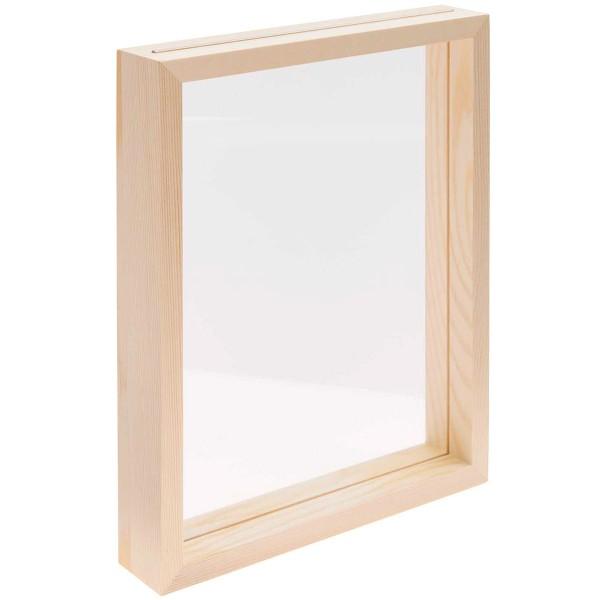 Cadre en bois herbier avec verre acrylique - 20 x 25 x 4 cm - 1 pce - Photo n°1