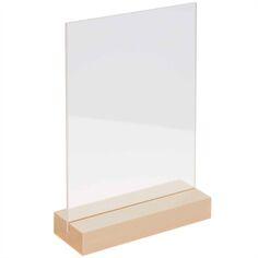 Support en bois et verre acrylique - 10 x 15 cm - 1 pce