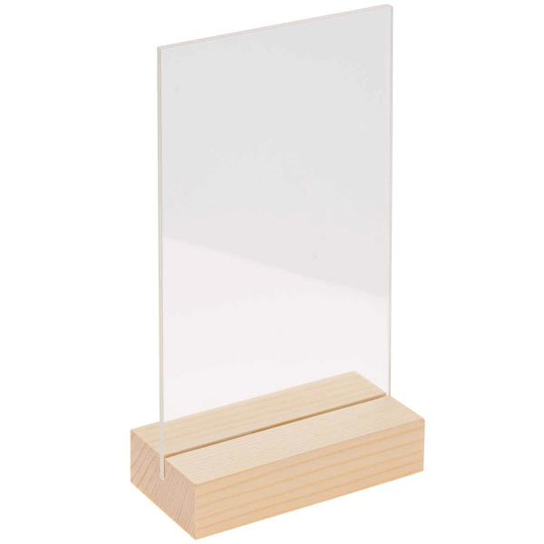 Support en bois  et verre acrylique - 13 x 18 cm - 1 pce - Photo n°1