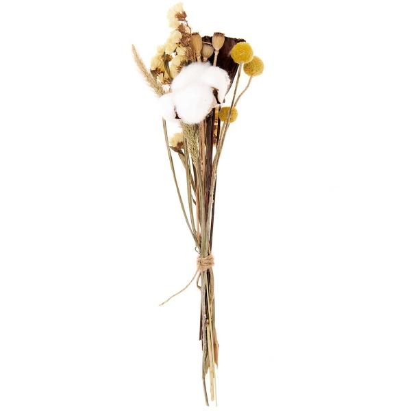 Bouquet de fleurs séchées - Nature Jaune - 30 cm - Photo n°1
