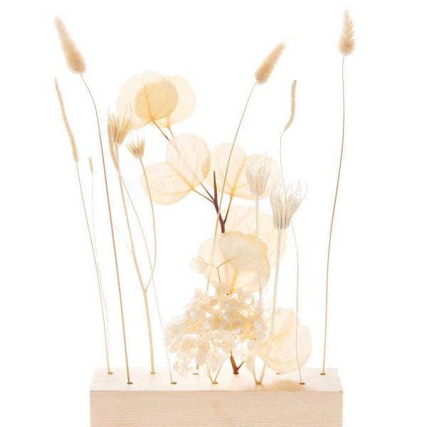 Bouquet de fleurs séchées - Nature Blanc - 30 cm - Photo n°2