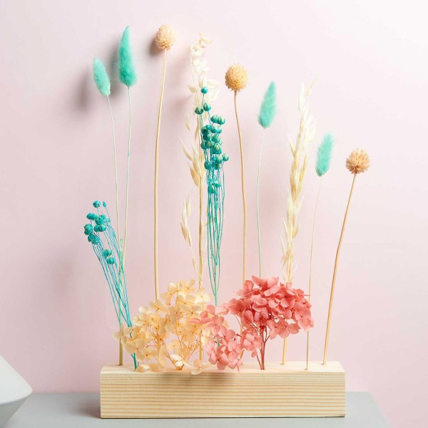 Bouquet de fleurs séchées - Pastel Turquoise - 30 cm - Photo n°2