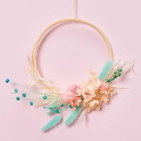 Bouquet de fleurs séchées - Pastel Turquoise - 30 cm - Photo n°4