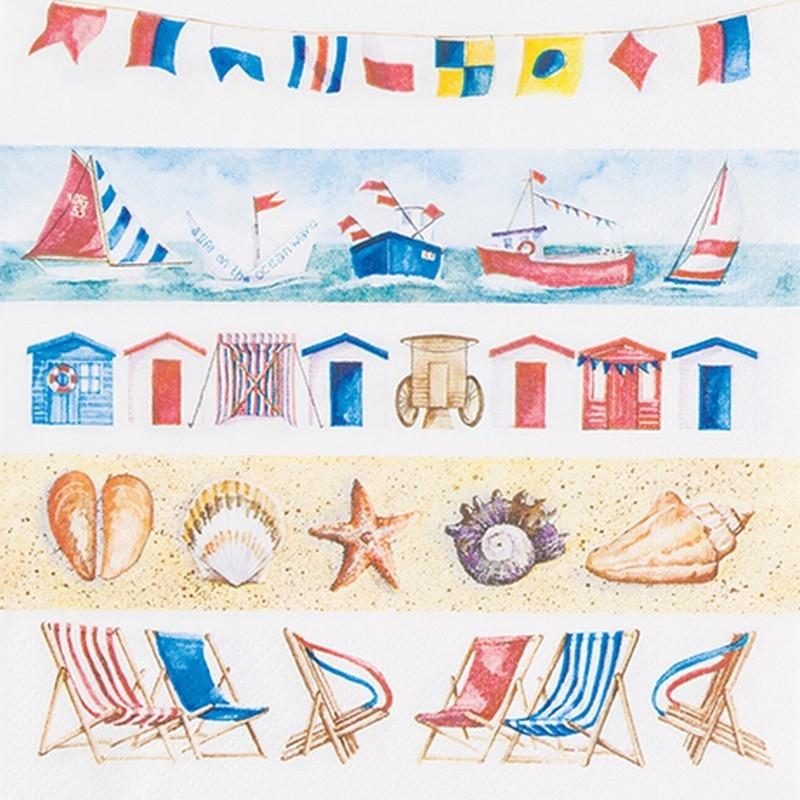 Lot de 20 serviettes en papier vivre au bord de la mer - Interieur bord de mer ...