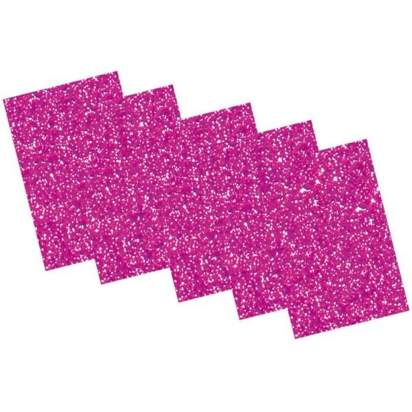 Caoutchouc mousse pailletté, 200 x 290 mm - Rose vif - Photo n°1