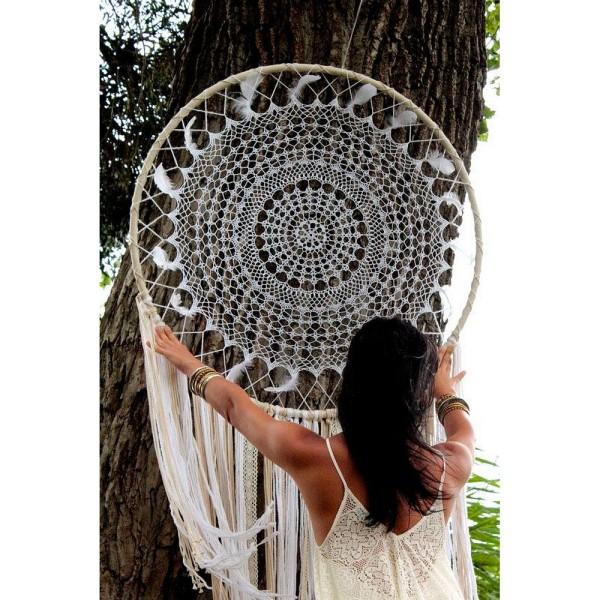 Très Grand Cercle XXL métallique blanc diam. 100 cm pour abat-jour, Anneau epoxy blanc Attrape rêves - Photo n°3