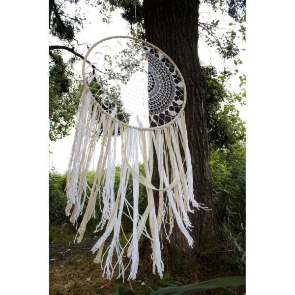 Très Grand Cercle XXL métallique blanc diam. 100 cm pour abat-jour, Anneau epoxy blanc Attrape rêves - Photo n°4
