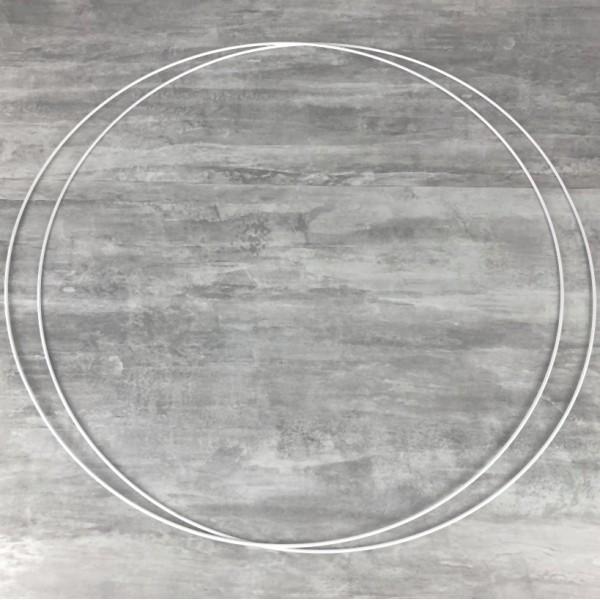 Lot de 2 Grands Cercles métalliques blanc diam. 100 cm pour abat-jour, Anneaux epoxy Attrape rêves - Photo n°1