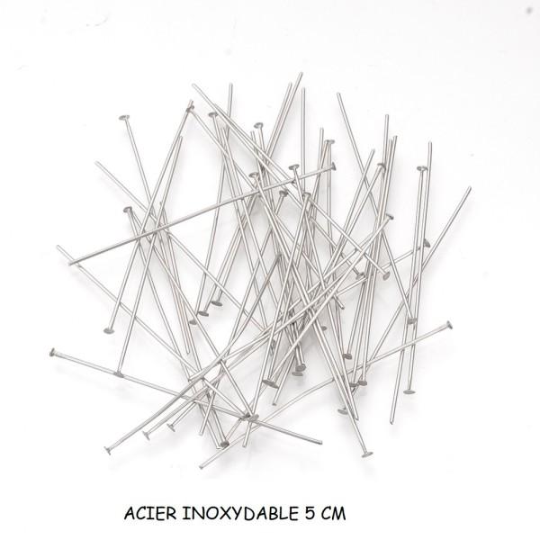 Clous tiges acier inoxydable 5 cm à tête plate x 10 - Photo n°1