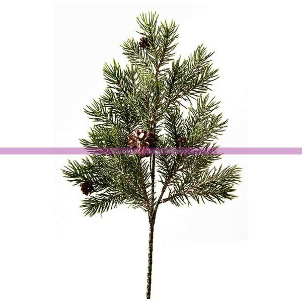 Rameau de Sapin artificiel avec Pommes de pin et 24 branches, Long. totale 40 cm - Photo n°1