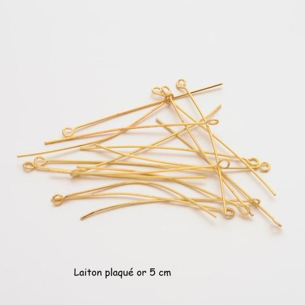 Clous tiges laiton plaqué or 5 cm à tête œil x 10 - Photo n°1