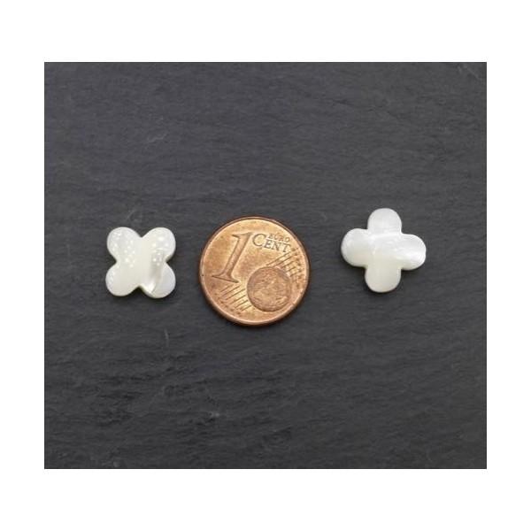 4 Perles Fleur En Nacre, Croix De Couleur Ivoire Nacré 10mm - Photo n°2