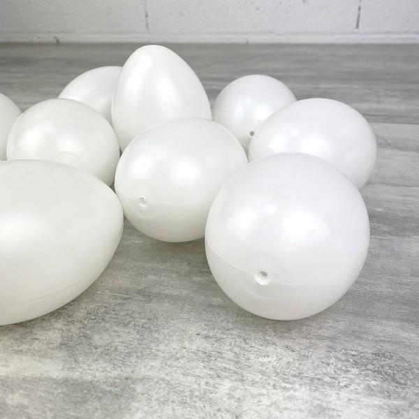 Lot de 10 Oeufs en plastique blanc, 10cm de haut, à décorer, avec trou de suspension, non séparables - Photo n°2