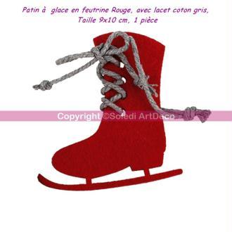 Patin à  glace en feutrine Rouge, avec lacet coton gris, 9x10 cm, 1 pièce