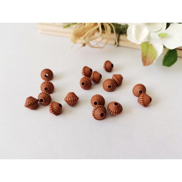 Perles acrylique imitation bois 9x 8 mm marron x 20 - Photo n°1
