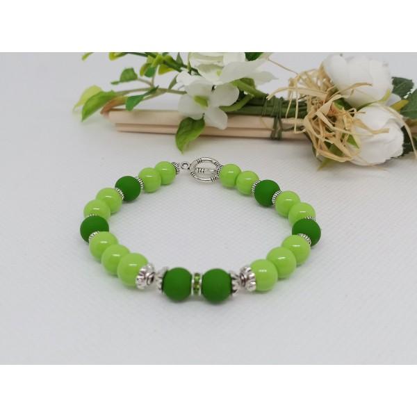 Kit bracelet perles en verre ronde vert clair et foncé - Photo n°2
