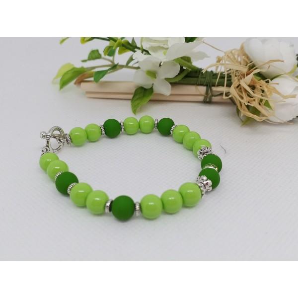 Kit bracelet perles en verre ronde vert clair et foncé - Photo n°3