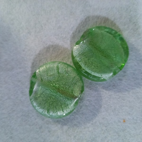 2 Perles pastilles rondes en verre centre argenté 3.2cm - Photo n°1