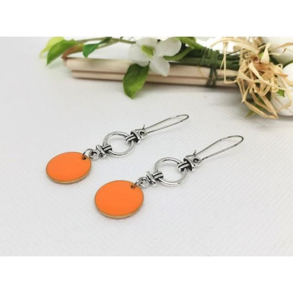 Kit boucles d'oreilles connecteur et sequin émail orange - Photo n°2